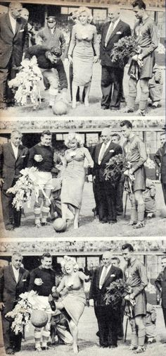 Marilyn at Ebbets Field, New York, where she made the ceremonial first kick in a soccer match between the USA national team and the Israeli club Hapoel Tel Aviv, May 12, 1957.