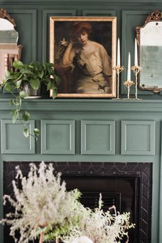 i spent some time in the living room doing a simple living room mantle update using vintage finds I already had around the house. Living Room Mantle, Living Room Paint, Home Living Room, Living Room Decor, Simple Living Room, Living Room Green, Painted Mantle, Vintage Mantle, Fireplace Mantle