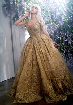 Gold wedding dress with lace and embroidery | Stephen Yearick | http://trib.al/tnOxvVR