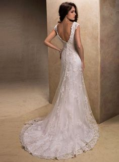 Maggie Sottero-Violet .... shape, lace, want more sparkle. Like v in the back would like it lower