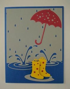 Splashing Puddles - Carol Morris Impression Obsession Cards, Umbrella Cards, Memory Box Cards, Beach Cards, Get Well Cards, Kids Cards, Hobbies And Crafts, Vintage Cards, Scrapbook Cards
