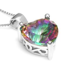 4ct Genuine Rainbow Fire Mystic Topaz Solid 925 Sterling Silver Pendant Only $24.99 => Save up to 60% and Free Shipping => Order Now! #Bracelets #Mystic Topaz #Earrings #Clip Earrings #Emerald #Necklaces #Rings #Stud Earrings