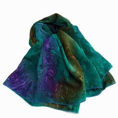 Jewel Tone Mehndi Scarf Wrap Elegant for by SomewhereByTheSea