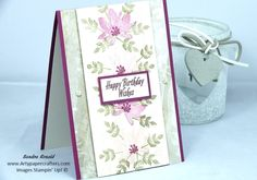 (See how you can earn FREE PRODUCTS during Sale-A-Bration)  Hi Everyone, today I have a simple little Greetings Card that is just so pretty made with the Avant Garden Stamp Set. As you know this is a free stamp set that can be earned during Sale-A-Bration.  I couldn't resist using Rich Razzleberry and Blushing Bride colours as they do go together so well. I added some of the lacy detail by cutting a piece of Designer Paper from the Falling in Love DSP. This was layered up and hand stam...