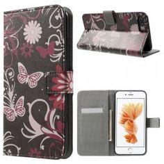 Apple iPhone 7 plus kukkia ja perhosia puhelinlompakko.