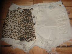 Shotr jeans desfiado aplicação tecido animal print. Sansara Milinda & PoP Chic