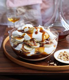 'Tis the season for trifle. From a show-stopping banana, brandy and butterscotch version to a gin-spiked rhubarb and vanilla number, you'll find more than a dozen trifle recipes here. Bread And Butter Pudding, Banoffee Pie, Banana Recipes, Sweet Recipes, Sweet Tooth, Foodies, Sweet Treats, Dessert Recipes, Fruit Dessert