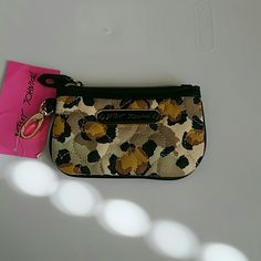 Betsey Johnson ID/ coin money  holder New be my sweetheart leopard print money holder.  Zip top closure, I.D pocket on side Betsey Johnson Bags Wallets