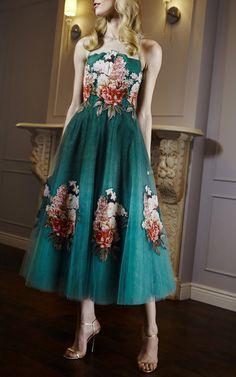 【Sachin+Babi】Botanic Print On Tulle Midi Gown With Applique Florals And Illusion Neckline $995