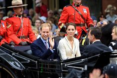 The Duke and Duchess of Cambridge arrive at Province house in Charlottetown, Prince Edward Island, escorted by Royal Canadian Mounted Police officers.