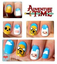 Adventure time nails  Necesitas:- Esmalte amarillo- Esmalte blanco- Esmalte turquesa- Pincel finito- Esmalte rosa- Liner negro o esmalte negro y un pincel finito