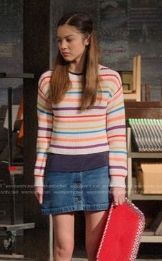 Nini's multi colored stripe sweater on High School Musical The Musical The Series Hig School, Emperors New Groove, Character Inspired Outfits, Geek News, Purple Suede, High School Musical, Pitch Perfect, Gal Gadot, Disney Girls