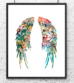 Art Print Watercolor Angel Wings Feather Art by Thenobleowl, $15.00