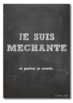 Card I'm naughty (je suis méchante in French - blackboard collection