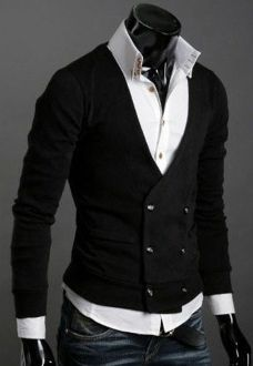 Classic style Men's Double Breasted Cardigan in black