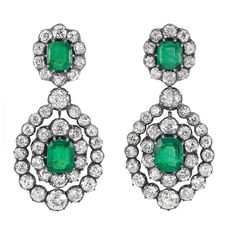 Antique silver, gold, emerald, and diamond earrings. These rock my world.
