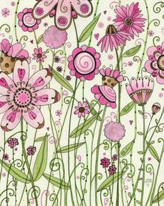 Moon Cookie Gallery pink and green floral..Etsy look...