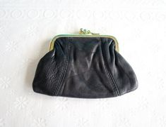 Mid Century Coin Purse / Pouch, Vintage Black Leather