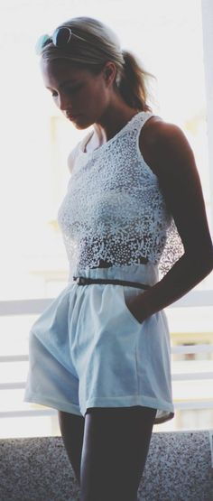 White on white- Lace crop top
