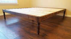 Turned Leg Platform Bed Bohemian Style Bed Low by PeaceLoveWood