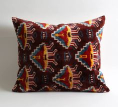 velvet pillow decorative pillow throw pillow ikat pillow