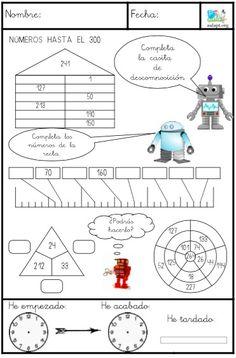 Segundo cuaderno de descomposición de números con control de tiempo. Descomposición hasta el 1000, unidad de millar. Ver también:  Cuaderno de descomposición números hasta el 100  Incluyo también en estas fichas los relojes de control de tiempo igual que en la ficha de comprensión lectora (podéis ver cómo
