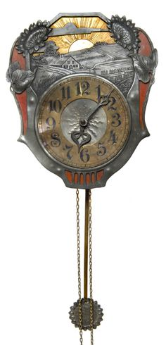 German Wall Clock, case featuring a farm landscape framed by sunflowers, c. 1900