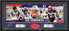 One framed New England Patriots player/team photoramic with openings for one or two ticket stubs* and one or two 4 x 6 inch personal photos**, double matted in team colors to 38 x 17 in.  The lines show the bottom mat color.  $189.99 @ ArtandMore.com