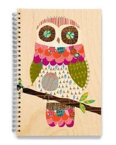 wooden owl sketchbook from ecojot