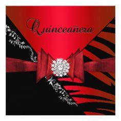 """Quinceanera 15th Birthday Zebra Red Black SStripe 5.25"""" Square Invitation Card"""