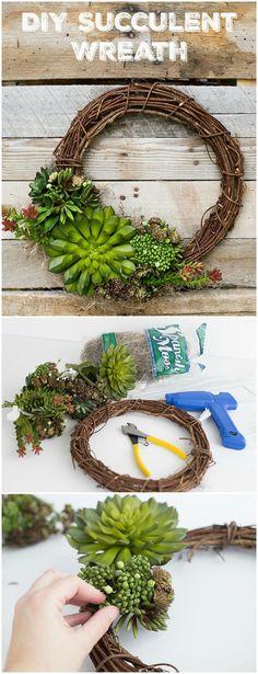 Spring Succulent DIY Wreath