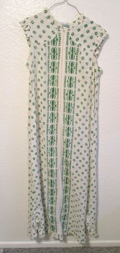 35dbbcf3a98 Vintage Hawaiian Maxi Dress Sleeveless Muumuu in White with Green Print  Boho Hippie Dress by Penneys Hawaii Label St. Patricks Day Dress