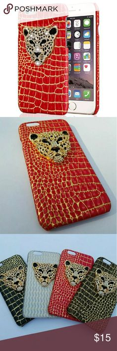 iPhone cheetah diamond bling red gold case Glamorous iphone case! With such beautiful details like the red PU leather (animal cruelty free!) Lined with gold to really make the case POP! The crystal studded pendant on the back of a fierce golden cheetah really makes the case! It also features an open side design to make for easy access to all your buttons and ports! You don't have to sacrifice fashion for practicality again!   Available for: IPhone 5, 5s, se, 6, 6s Accessories Phone Cases