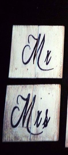 Check out this item in my Etsy shop https://www.etsy.com/listing/190670833/mr-mrs-shabby-chic-rustic-signs-on