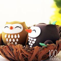 Awwww!! Custom Wedding Cake Topper  Owl couple in the by 100original,