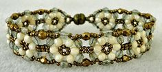 Linda's Crafty Inspirations: Bracelet of the Day: Tokyo Rows - Pale Blue and Cream