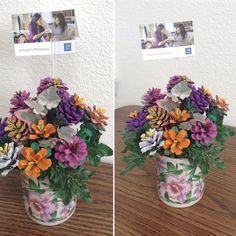 Painted pine cone flower arrangement brought to nursing home bible study...painted & created by Sharlotte Ellzey
