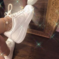 Air Force ones - sneakers - women's white sneakers - platform sneakers - white Air Force ones - lace up sneaker Sock Shoes, Cute Shoes, Me Too Shoes, Flipagram, White Air Force Ones, Accesorios Casual, Aesthetic Shoes, Dress Shoes, Shoes Heels