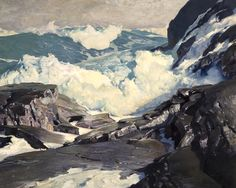 paintingbox:  Frederick Judd Waugh (1861-1940). Crashing Seas. 39 x 49.25 in