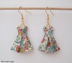 Origami, bijoux boucles d'oreille robe en origami, bijou en origami papier italien fleurs multicolores