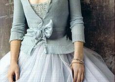 Bride in a pale blue cardigan