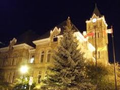 St. Thomas City Hall lit up at night