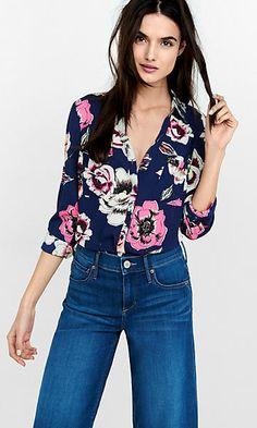 original fit floating floral portofino shirt