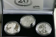 3 Coin 2006 20th Anniversary American Silver Eagle US Mint ASE Silver Dollar Set