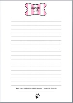 Free Things To Do Note Paper Printable - I like the reward line at the bottom