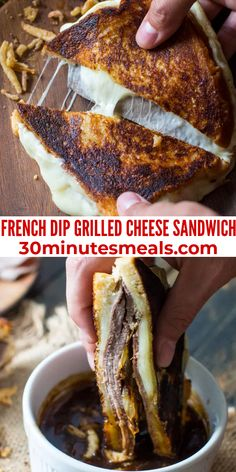 French Dip Grilled Cheese Sandwich is perfect for dinner, parties or game nights! #frenchdip #dip #sandwich #appetizer #lunch #30minutesmeals Best Lunch Recipes, Easy Delicious Recipes, Sandwich Recipes, Easy Recipes, Yummy Food, Favorite Recipes, Easy To Make Dinners, Easy Eat, Lunch Ideas