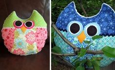 almohadones con forma de búho  http://www.lasmanualidades.com/2011/03/08/como-hacer-un-almohadon-con-forma-de-buho