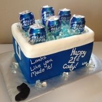 What a lovely idea for a 21st birthday cake.  Ice is made of Jelly / Jello and beer cans are cut so they are the right level - very clever!