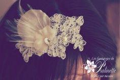 Pince à cheveux fascinator en dentelle Noa 49€ Open Back Wedding, Bride Necklace, Fresh Water Pearls