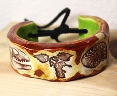Ceramic Fossil Bracelet Bangle or Cuff Size 725 by surly on Etsy, $38.00